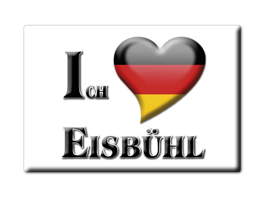 DEUTSCHLAND-SOUVENIR-BAYERN-KUHLSCHRANKMAGNET-ICH-LIEBE-I-LOVE-EISBUHL-BY