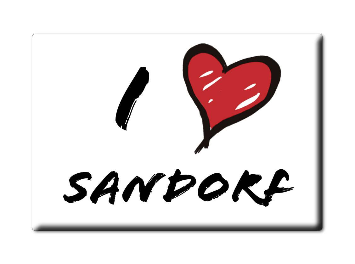 DEUTSCHLAND-SOUVENIR-BAYERN-KUHLSCHRANKMAGNET-ICH-LIEBE-I-LOVE-SANDORF-BY