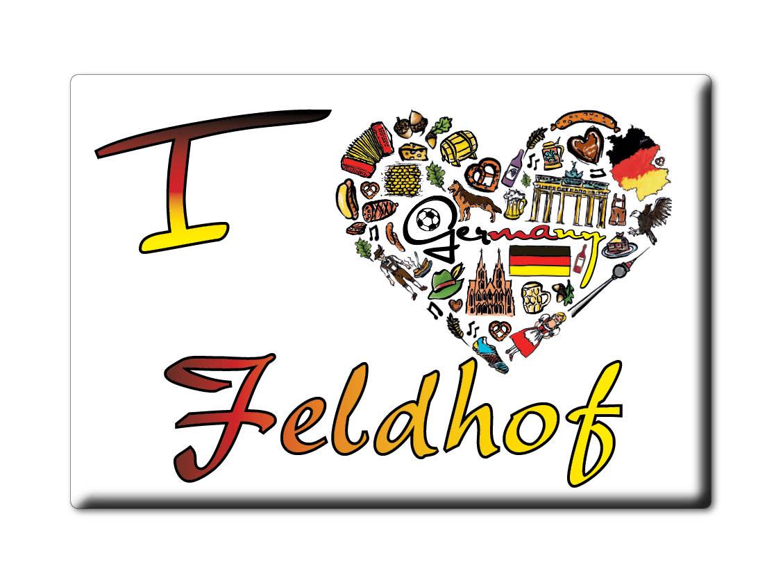 DEUTSCHLAND-SOUVENIR-BAYERN-KUHLSCHRANKMAGNET-ICH-LIEBE-I-LOVE-FELDHOF-BY