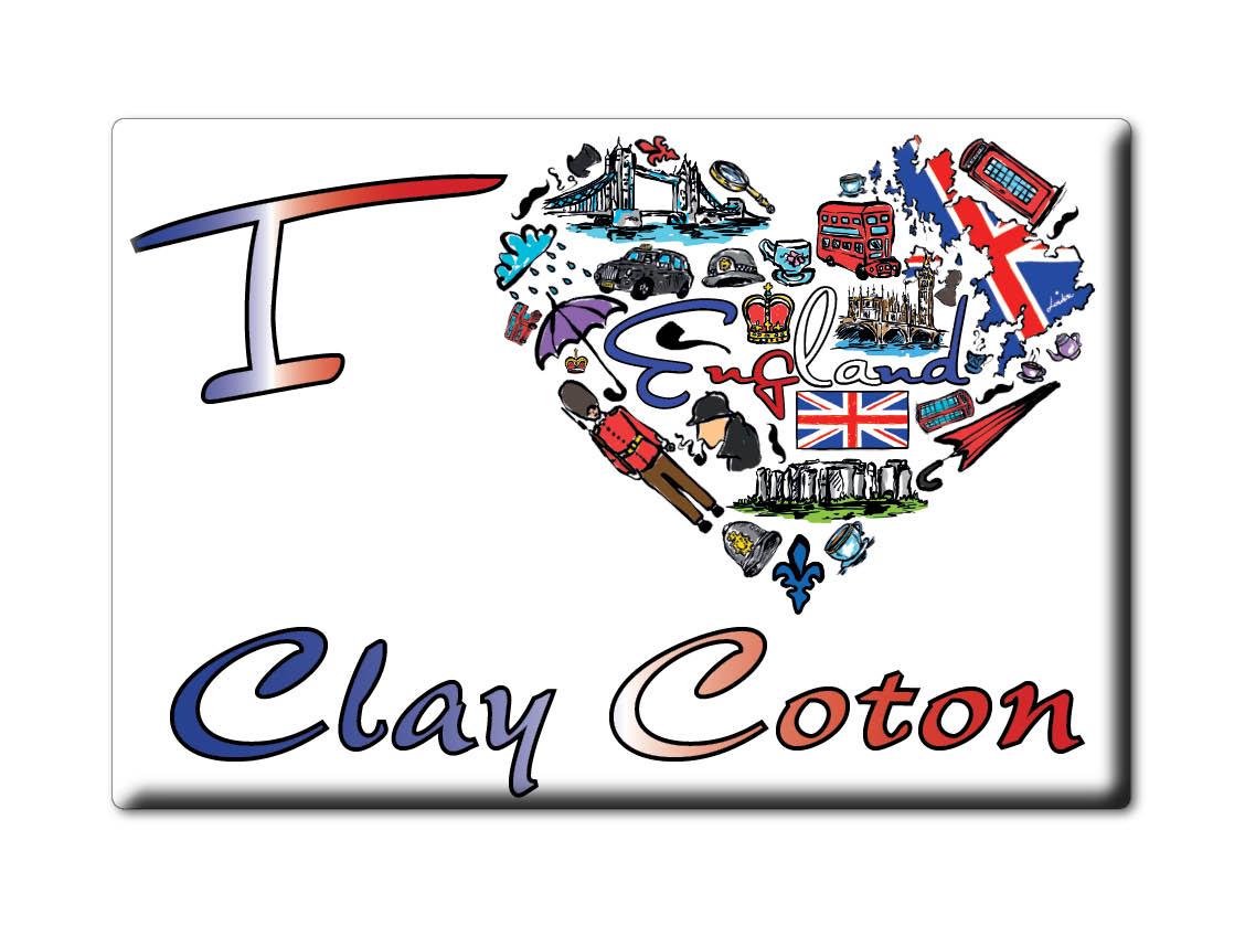 SOUVENIR-UK-ENGLAND-NORTHAMPTONSHIRE-FRIDGE-MAGNET-UK-I-LOVE-CLAY-COTON-ENG